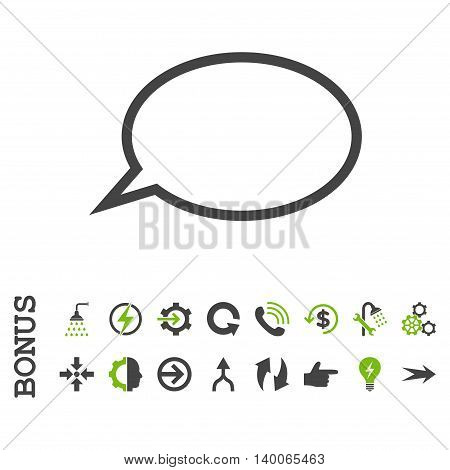 Hint Cloud glyph bicolor icon. Image style is a flat pictogram symbol, eco green and gray colors, white background.