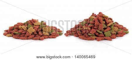 Closeup dog food isolated on white background