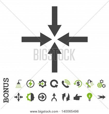 Impact Arrows glyph bicolor icon. Image style is a flat pictogram symbol, eco green and gray colors, white background.