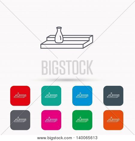 Wall shelf icon. Bookshelf with vase sign. Linear icons in squares on white background. Flat web symbols. Vector