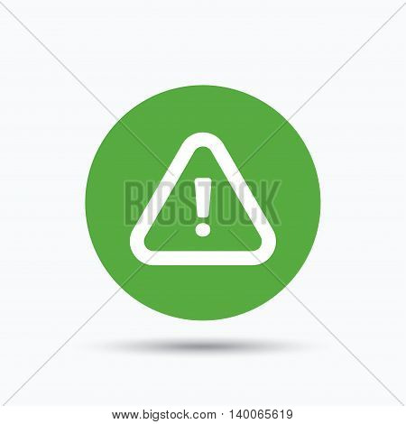 Warning icon. Attention exclamation mark symbol. Flat web button with icon on white background. Green round pressbutton with shadow. Vector