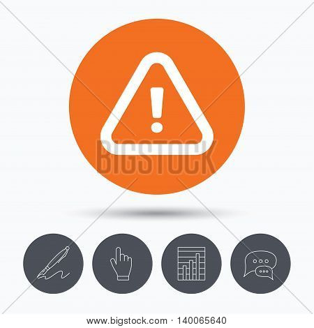 Warning icon. Attention exclamation mark symbol. Speech bubbles. Pen, hand click and chart. Orange circle button with icon. Vector