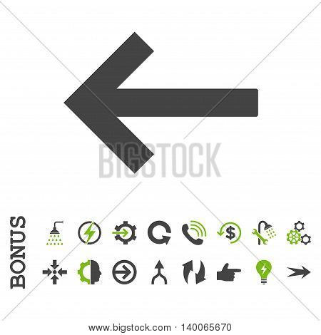 Left Arrow glyph bicolor icon. Image style is a flat pictogram symbol, eco green and gray colors, white background.