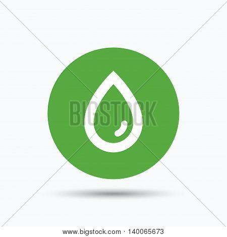 Water drop icon. Natural aqua symbol. Flat web button with icon on white background. Green round pressbutton with shadow. Vector