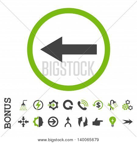 Left Rounded Arrow glyph bicolor icon. Image style is a flat iconic symbol, eco green and gray colors, white background.