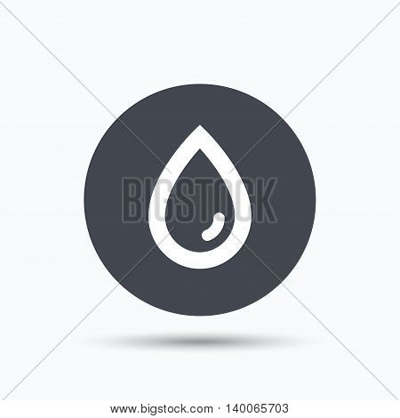 Water drop icon. Natural aqua symbol. Flat web button with icon on white background. Gray round pressbutton with shadow. Vector