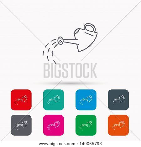 Watering can icon. Gardener equipment sign symbol. Linear icons in squares on white background. Flat web symbols. Vector