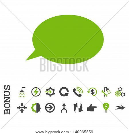 Message Cloud glyph bicolor icon. Image style is a flat pictogram symbol, eco green and gray colors, white background.