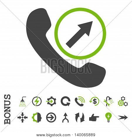 Outgoing Call glyph bicolor icon. Image style is a flat pictogram symbol, eco green and gray colors, white background.
