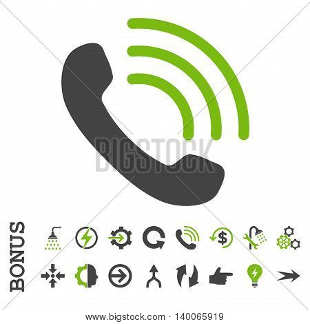 Phone Call glyph bicolor icon. Image style is a flat pictogram symbol, eco green and gray colors, white background.