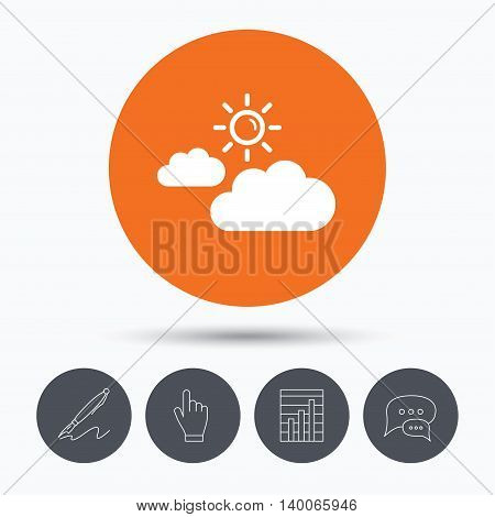 Cloud with sun icon. Sunny weather symbol. Speech bubbles. Pen, hand click and chart. Orange circle button with icon. Vector