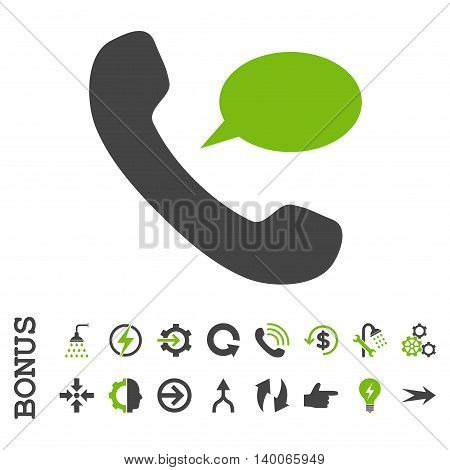 Phone Message glyph bicolor icon. Image style is a flat pictogram symbol, eco green and gray colors, white background.