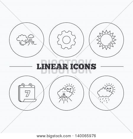 Weather, strong wind and rainy day icons. Sun linear sign. Flat cogwheel and calendar symbols. Linear icons in circle buttons. Vector