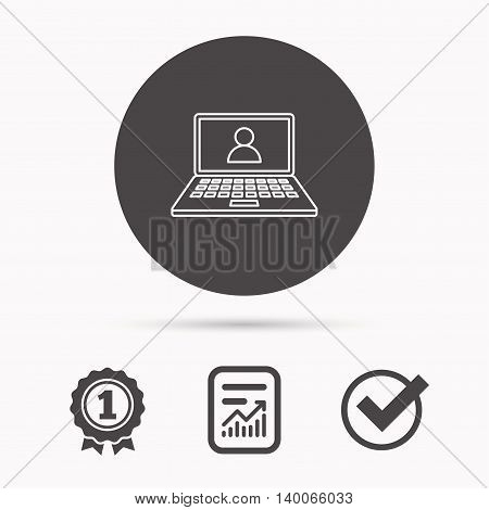 Webinar icon. Chat video sign. Online education symbol. Report document, winner award and tick. Round circle button with icon. Vector