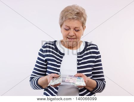 Happy Senior Female Counting Polish Currency Money, Concept Of Financial Security In Old Age