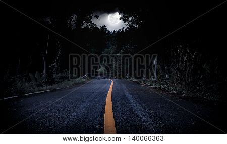 Nighttime with curvy roadway in forest at national park. Landscape of moonlight in a beautiful green forest. Outdoors. The moon taken with my own camera no NASA images used.