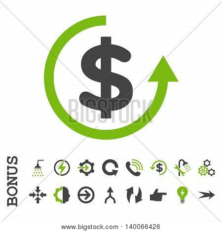 Refund glyph bicolor icon. Image style is a flat iconic symbol, eco green and gray colors, white background.