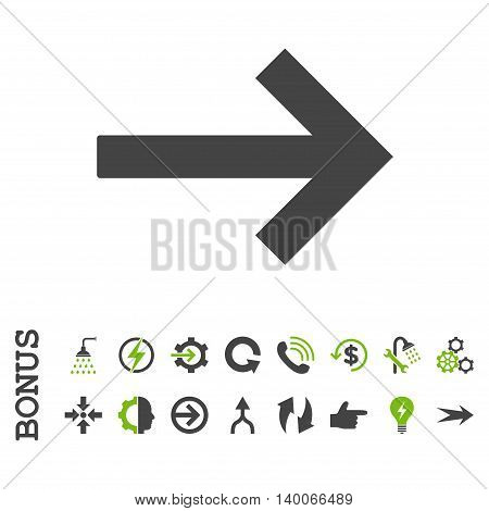 Right Arrow glyph bicolor icon. Image style is a flat iconic symbol, eco green and gray colors, white background.