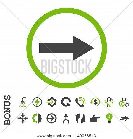 Right Rounded Arrow glyph bicolor icon. Image style is a flat iconic symbol, eco green and gray colors, white background.