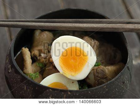 Closeup Chicken noodle. tom yum Thai food