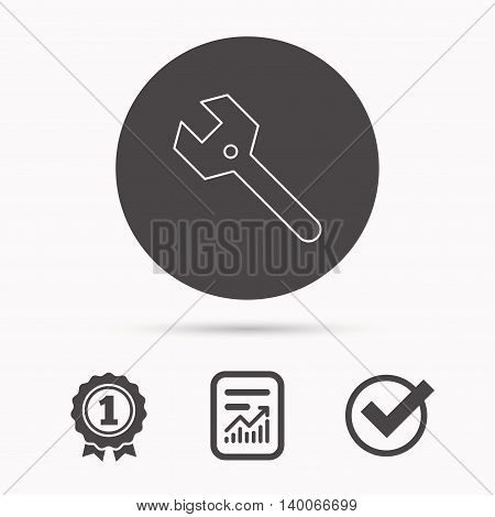 Wrench key icon. Repair fix tool sign. Report document, winner award and tick. Round circle button with icon. Vector