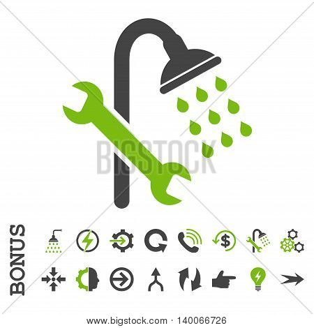 Shower Plumbing glyph bicolor icon. Image style is a flat iconic symbol, eco green and gray colors, white background.