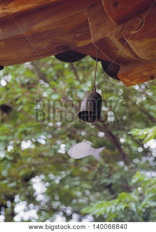Wind bell hanging from the eaves