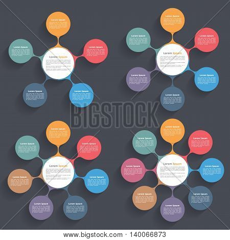 Circle diagrams with five, six, seven and eight elements, flow chart, business infographics, vector eps10 illustration
