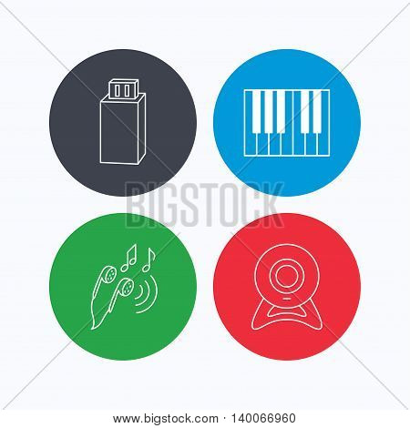Headphones, web camera and USB flash icons. Piano linear sign. Linear icons on colored buttons. Flat web symbols. Vector