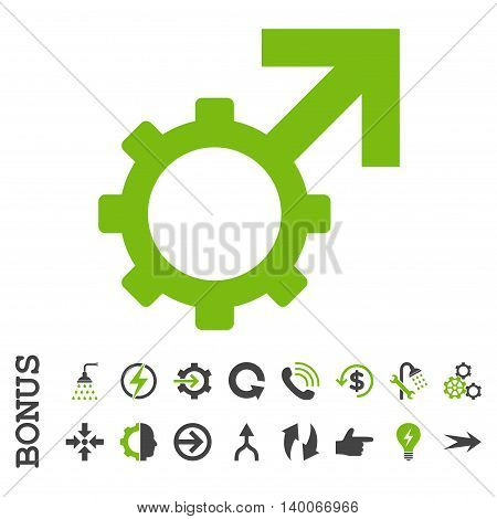 Technological Potence glyph bicolor icon. Image style is a flat iconic symbol, eco green and gray colors, white background.