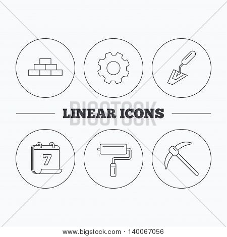 Brickwork, spatula and mining icons. Paint roller linear sign. Flat cogwheel and calendar symbols. Linear icons in circle buttons. Vector
