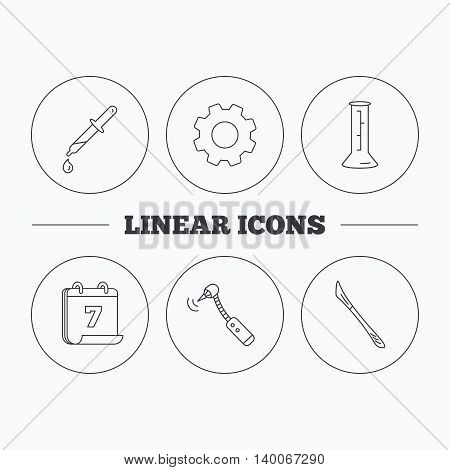 Beaker, medical scalpel and drilling tool icons. Pipette linear sign. Flat cogwheel and calendar symbols. Linear icons in circle buttons. Vector