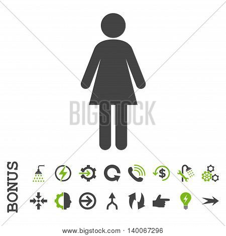 Woman glyph bicolor icon. Image style is a flat iconic symbol, eco green and gray colors, white background.