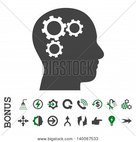 Brain Gears glyph bicolor icon. Image style is a flat iconic symbol, green and gray colors, white background.