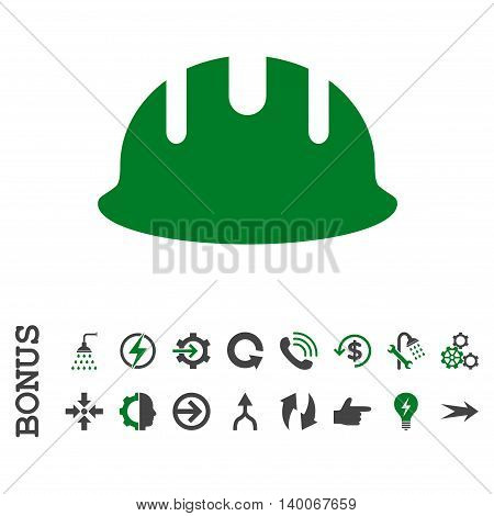 Builder Hardhat glyph bicolor icon. Image style is a flat pictogram symbol, green and gray colors, white background.