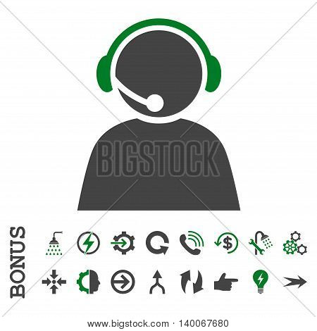 Call Center Operator glyph bicolor icon. Image style is a flat iconic symbol, green and gray colors, white background.
