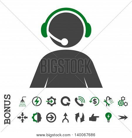 Call Center Operator glyph bicolor icon. Image style is a flat pictogram symbol, green and gray colors, white background.