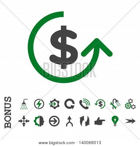 Chargeback glyph bicolor icon. Image style is a flat pictogram symbol, green and gray colors, white background.