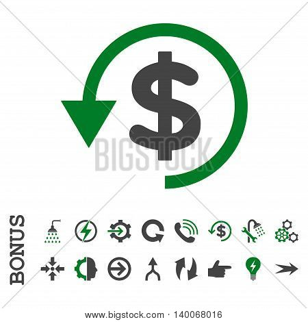 Chargeback glyph bicolor icon. Image style is a flat iconic symbol, green and gray colors, white background.