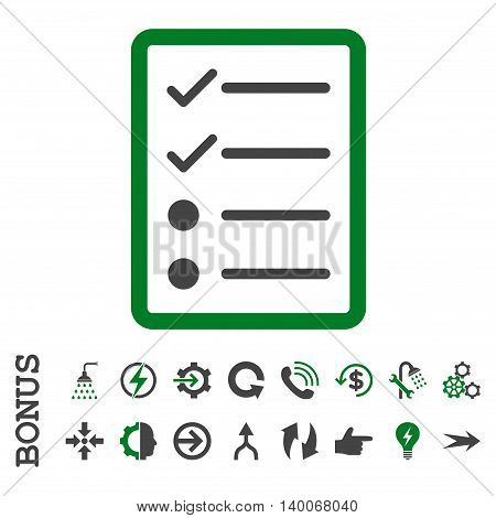 Checklist Page glyph bicolor icon. Image style is a flat iconic symbol, green and gray colors, white background.