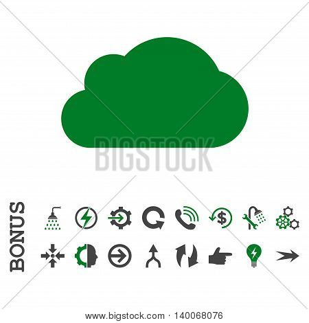 Cloud glyph bicolor icon. Image style is a flat pictogram symbol, green and gray colors, white background.