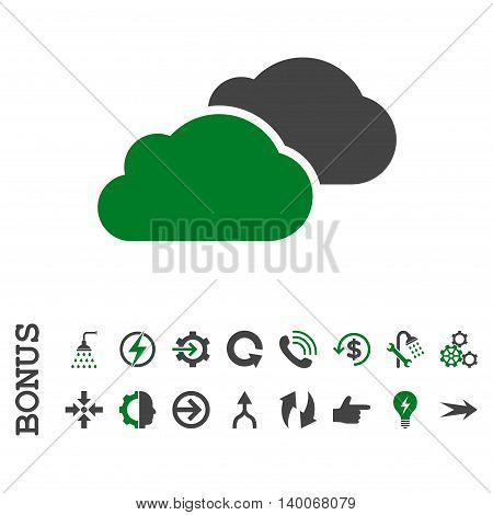 Clouds glyph bicolor icon. Image style is a flat iconic symbol, green and gray colors, white background.