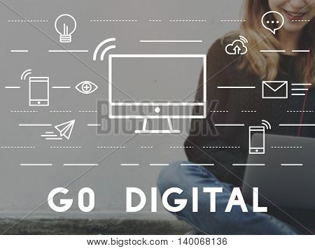 Go Digital Communication connection Network Concept