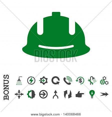 Construction Helmet glyph bicolor icon. Image style is a flat iconic symbol, green and gray colors, white background.