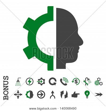 Cyborg Gear glyph bicolor icon. Image style is a flat pictogram symbol, green and gray colors, white background.