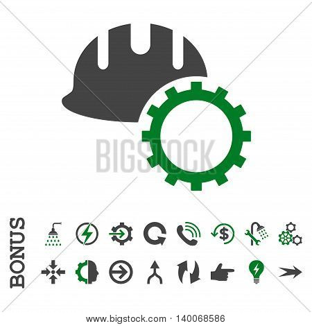 Development Hardhat glyph bicolor icon. Image style is a flat iconic symbol, green and gray colors, white background.