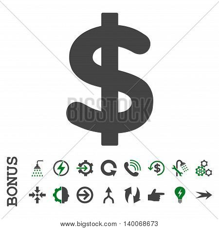 Dollar glyph bicolor icon. Image style is a flat pictogram symbol, green and gray colors, white background.