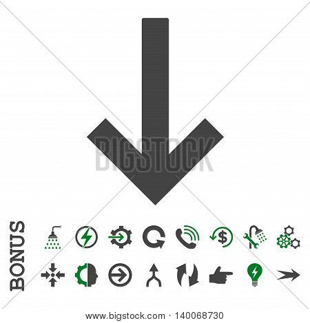 Down Arrow glyph bicolor icon. Image style is a flat pictogram symbol, green and gray colors, white background.