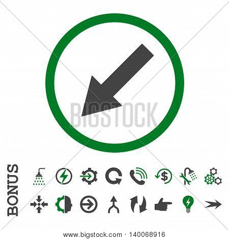 Down-Left Rounded Arrow glyph bicolor icon. Image style is a flat pictogram symbol, green and gray colors, white background.