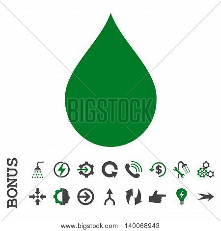 Drop glyph bicolor icon. Image style is a flat iconic symbol, green and gray colors, white background.